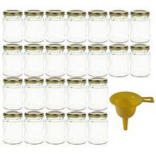 Viva Haushaltswaren 24 x kleines Einmachglas 106 ml mit goldfarbenem Deckel, runde Glasdosen als Marmeladengläser, Gewürzdosen, Gastgeschenk etc. verwendbar (inkl. Trichter)
