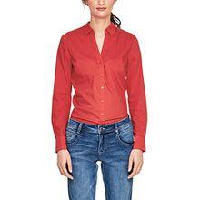 s.Oliver RED LABEL Damen Stretch-Bluse mit V-Ausschnitt Tango Red 42