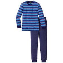 Schiesser Mädchen Zweiteiliger Schlafanzug Anzug lang, Gr. 140, Blau (blau 800)