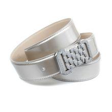 Anthoni Crown 3,4 cm Perlmutt silberfarbener Lackledergürtel Ledergürtel silber Damen