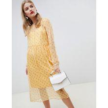 Pieces - Gelbes Minikleid mit Blümchenmuster - Gelb