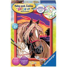 Malen nach Zahlen, 13x18 cm, mit farbigen Motivlinien, Pferde-Traum