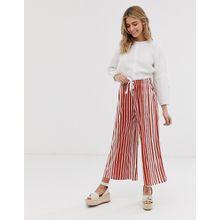 ASOS DESIGN - Kurz geschnittene Hose mit Kordelzug und Streifen in Naturfarben - Mehrfarbig
