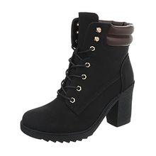 Ital-Design Schnürstiefeletten Damen-Schuhe Schnürstiefeletten Pump Schnürer Schnürsenkel Stiefeletten Schwarz, Gr 36, A-55-