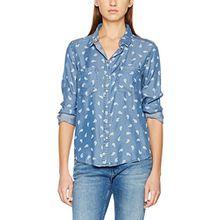 Tommy Jeans Hilfiger Denim Damen Bluse THDW Denim Print Shirt L/S 30B, Blau (Chambray Paisley/Phana Print 911), 36 (Herstellergröße: S)