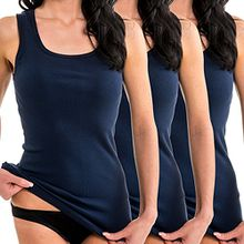 HERMKO 1325 3er Pack Damen Longshirt ideal für drüber und drunter (Weitere Farben), Farbe:marine, Größe:40/42 (M)