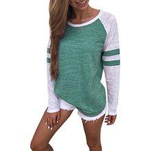 Sweatshirt T-shirt,Dasongff Mode Damen Langarm Gestreift Strick Spleiß-Blusen Oberseiten Langshirt T-Shirt Oberteil Tops (L, Grün)