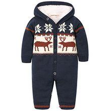 """ZOEREA Baby Jungen M?dchen Weihnachten Elch Winter Strickjacke Pullover Jumper Strampler Babymode Sweatshirt Lange ?rmel verdicken plus Samt mit Kapuze S?ugling Spielanzug Kletter Kleidung(0-24m)¡"""""""