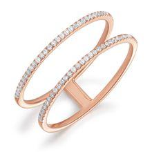 Ring Double mit Diamanten, 18 K Roségold