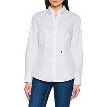 Seidensticker Damen Bluse Hemdbluse Langarm slim fit Uni Bügelfrei, Weiß (Weiß 01), 34