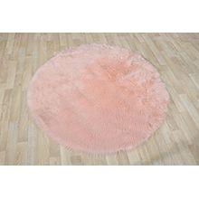 Fell Teppich Schaffell Lammfell Imitat Kunstfell Dekofell MIA bei 30 Grad waschbar aus 100% Polyester (120 cm Rund, rosa 015)
