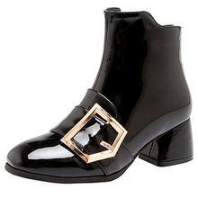 AIYOUMEI Damen Lack Herbst Winter Stiefeletten mit Schnalle und Reißverschluss 5cm Absatz Kurzschaft Stiefel
