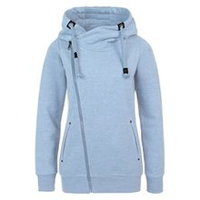 Sublevel Sweatjacke mit Zipper & Kapuze | Cooler Damen Hoodie - schräger Reißverschluss, Uni-farben light-blue M