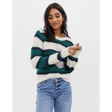 Abercrombie & Fitch - Gestreifter Pullover mit Ballonärmeln - Mehrfarbig