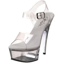 Pleaser Damen Captiva-608 Plateausandalen, Transparent (Transparent), 35 EU