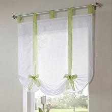 Souarts Grün Transparent Gardine Vorhang Raffgardinen Raffrollo Schlaufenschal Deko für Wohnzimmer Schlafzimmer Studierzimmer 120cmx140cm