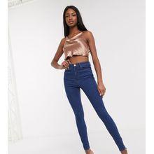 ASOS DESIGN Tall - Ridley - Skinny-Jeans in blauer Waschung mit hohem Bund - Blau