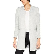 VERO MODA Damen Jacke Vmjune W/L Long Blazer Dnm Noos, Grau (Light Grey Melange Light Grey Melange), 42