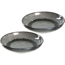 LEONARDO 2er-Set Keramik Teller, tief, Ø21 cm anthrazit