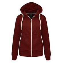Top Fashions Damen Plain Hoodie Zip Jacket -16 FARBEN - Größen 36-42