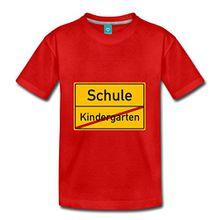 Spreadshirt Einschulung Schule Kindergarten Verkehrsschild Schulanfang Kinder Premium T-Shirt, 122/128 (6 Jahre), Rot