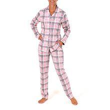 Damen Pyjama lang zum durchknöpfen im Karodesign, Größe:40/42;Farbe:rosa
