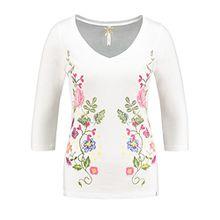 Key Largo Damen Langarmshirt WLS Fantasy Longsleeve 3/4 Flower Blumen Frühling Spring Weiß S