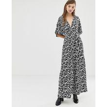 Glamorous - Jumpsuit mit Kimono-Ärmeln in farblich abgestimmtem Leopardenmuster - Schwarz