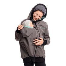 Viva la Mama Umstandsjacke Herbst Winter warm Softhshell Mama und Baby Jacke zum Tragen - JACKY - grau-mint - S