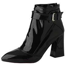 AIYOUMEI Damen Spitz Zehen Blockabsatz Lack Stiefeletten mit Schnalle Modern Elegant Herbst Winter Stiefel