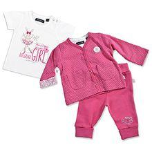 BLUE SEVEN - Baby Mädchen Set 3-tlg. DANCING STAR 422002 mit Schlupfhose, T-Shirt und passender Jacke in pink Größe 62