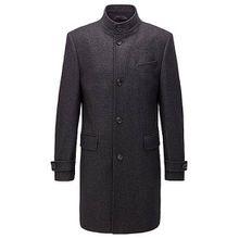 Melierter Regular-Fit Mantel aus Woll-Mix