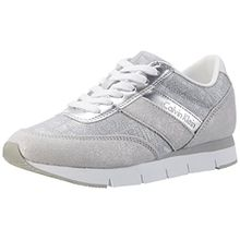 Calvin Klein Jeans Damen Tea Metallic Jacquard/Suede Sneaker, Silber (Lsv), 38 EU