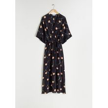 V-Neck Floral Silk Kaftan - Black