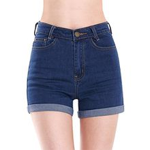 Minetome Damen Frauen Mädchen Sexy Hohe Taille Shorts Kurz Damen Jeans ( Dunkelblau EU S )