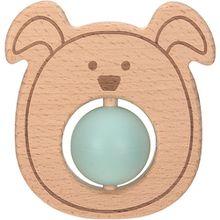 Greifling und Beißring mit Silikonkugel, 2 in 1, Holz/Silikon, Little Chums Dog hellblau