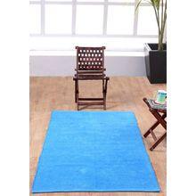 Homescapes waschbarer Chenille Teppich Vorleger 110 x 170 cm aus 100% reiner Baumwolle, Farbe: blau, pflegeleicht und strapazierfähig