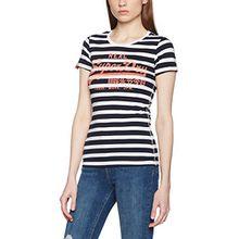 Superdry Damen T-Shirt Vintage Logo, Blu (Navy Stripe), Gr. 42 (Herstellergröße:L)