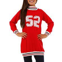 Sport Tuniken Pullover für Mädchen Streetwear Gr. 116-158 (128-134, Rot)