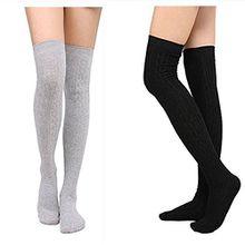 KIIMOO Lange Overknee Strümpfe Damen Knie Struempfe Thigh High College Knie Socken (Hellgrau & Schwarz)