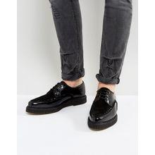 ASOS – Schwarze Leder-Schnürschuhe mit Creeper-Sohle