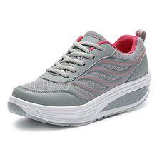 SAGUARO Keilabsatz Plateau Sneaker Mesh Erhöhte Schnürer Sportschuhe Laufschuhe Freizeitschuhe für Damen Grau Rot 36 EU