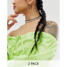 ASOS DESIGN – Kurze Cupchain-Halsketten in Schwarz und Weiß, 2er-Pack-Mehrfarbig