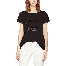 G-STAR RAW Damen T-Shirt Genzia Straight R T Wmn S/s, Schwarz (Black 990), 38 (Herstellergröße:M)