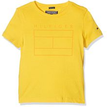 Tommy Hilfiger Jungen T-Shirt Ame Logo CN Tee S/S, Gelb (Freesia 708), 128