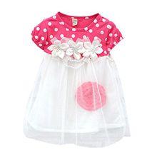 Silvercell Baby-Spitze-Kuchen-Kleid Blumen Tupfen Print Short Sleeve Sommerkleid