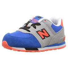 New Balance Unisex-Kinder 574 Cut and Paste Sneaker, Mehrfarbig (Grey/Blue), 38.5 EU