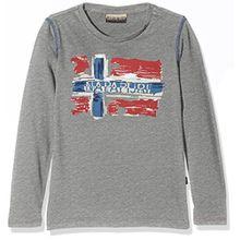 Napapijri Jungen T-Shirt K Sachs LS, Grau (Med Grey Mel 160), 164 (Herstellergröße: 14)