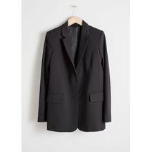 Wool Blend Blazer - Black