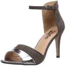 Buffalo Shoes 312339 MET PU IMI SUEDE, Damen Knöchelriemchen Sandalen, Grau (PEWTER 01), 41 EU